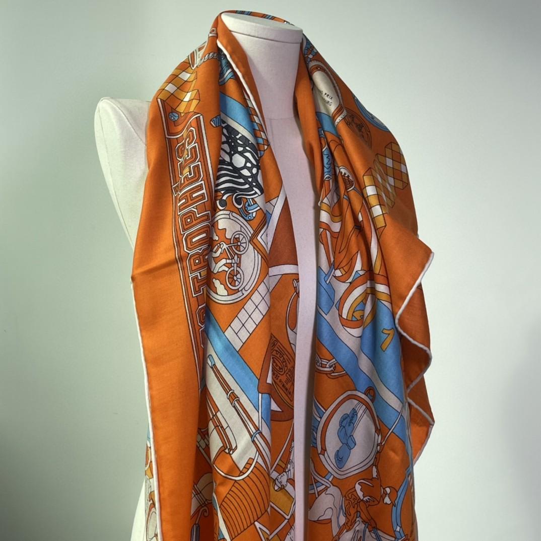 HERMES 爱马仕 秋季款新款丝绒方巾 Size:140x140cm 真丝羊绒橙色