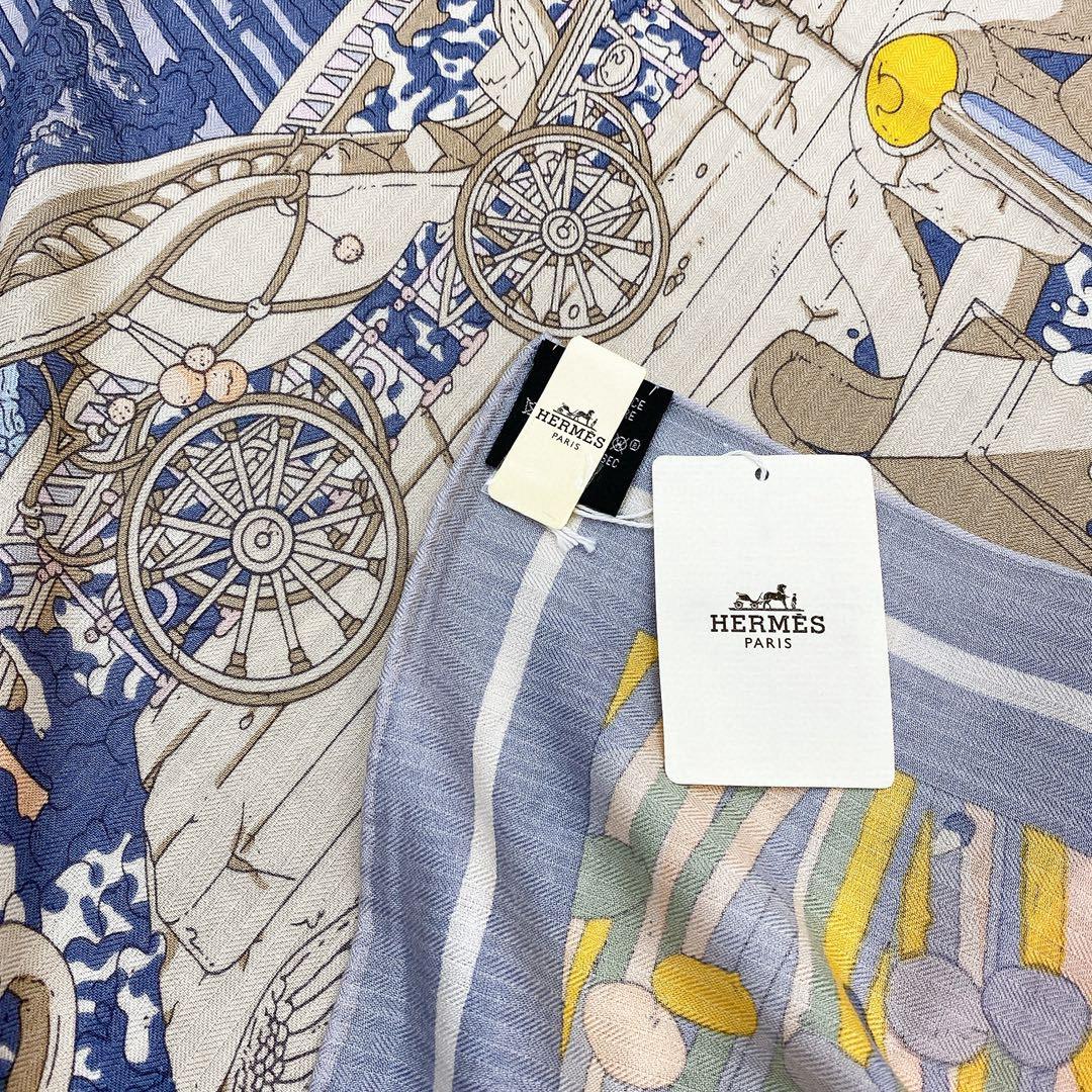 Hermes 秋季款 《藏书章版亚特兰蒂斯丝绒披肩》蓝灰色 Size:140x140cm