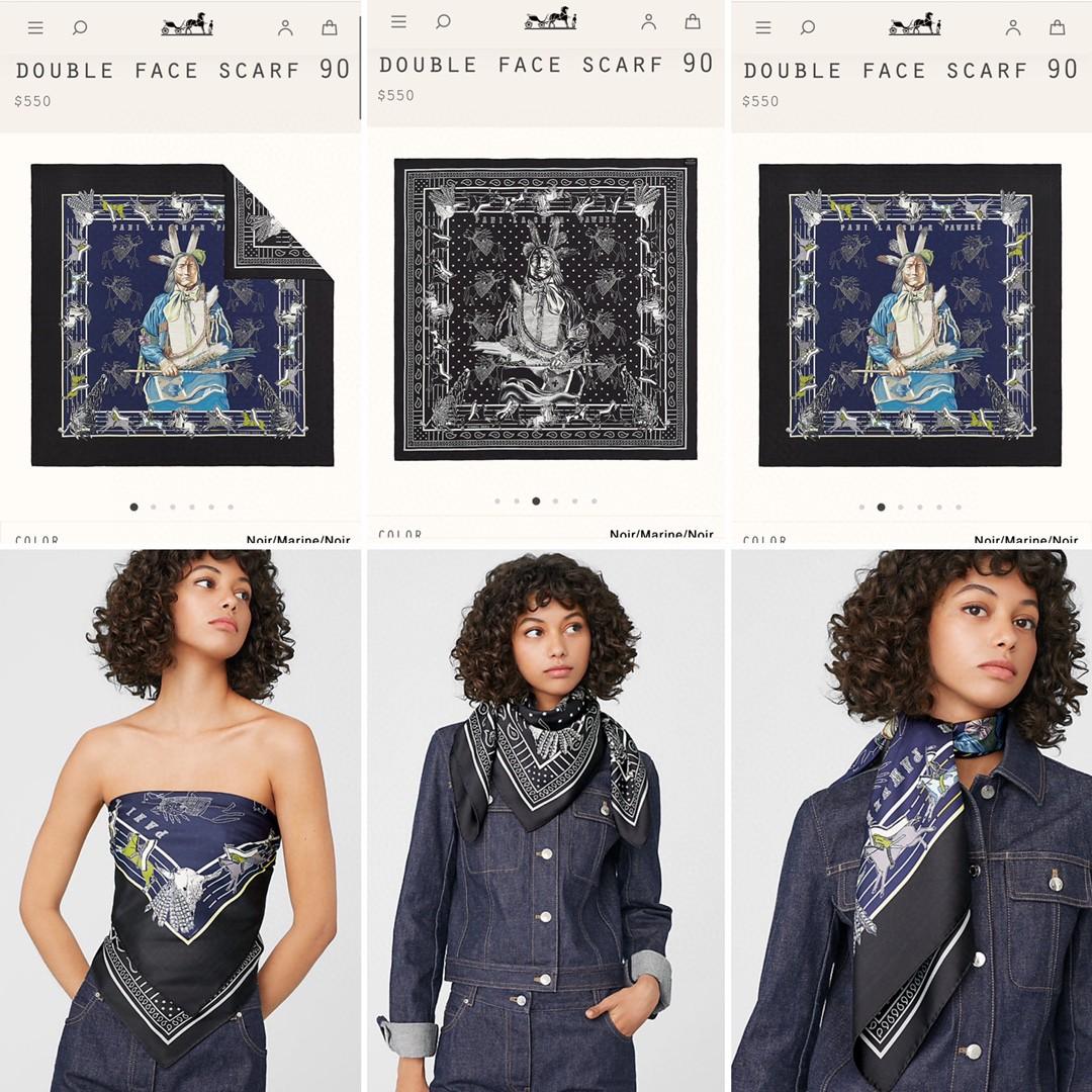 HERMES 双面围巾《 波尼族酉长 》90*90cm 100^%真丝 黑色配紫蓝色