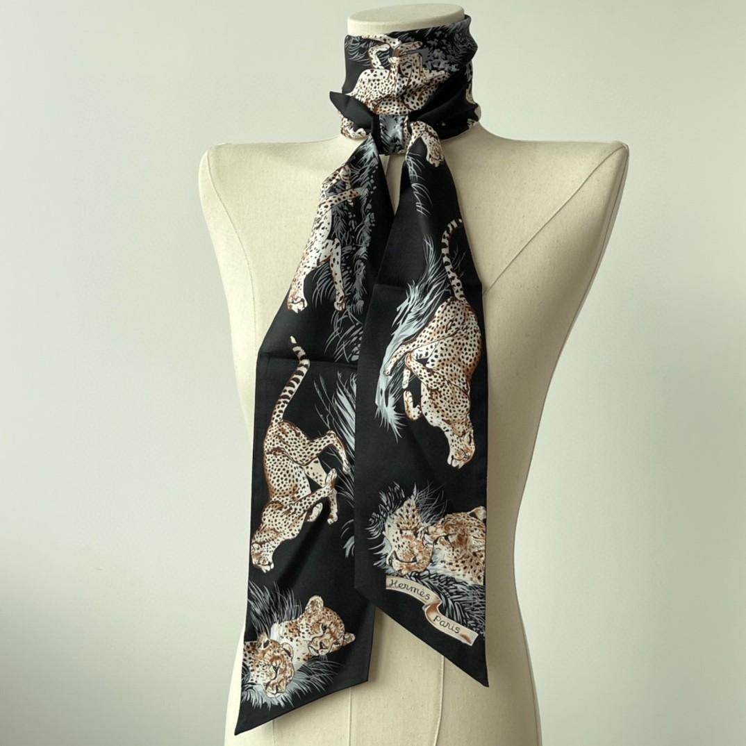 HERMES 21夏季新款Maxi Twilly《猎豹》 黑色 ~100%真丝10*180cm可作为头巾、腰带佩戴或系绕颈间