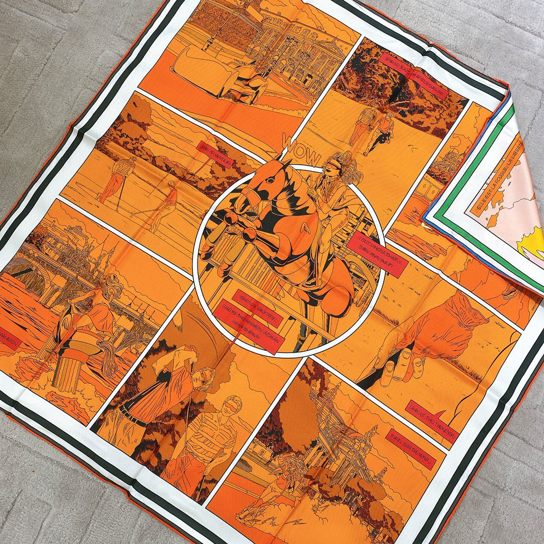 HERMES 《 wow 》双面方巾 橙色90x90cm100%真丝18mm足专柜克重