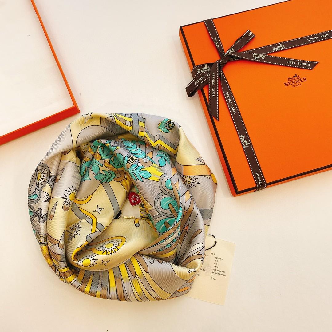 HERMES 21年夏季新款丝巾《飞马之源》黄色 90x90cm 100%真丝材质