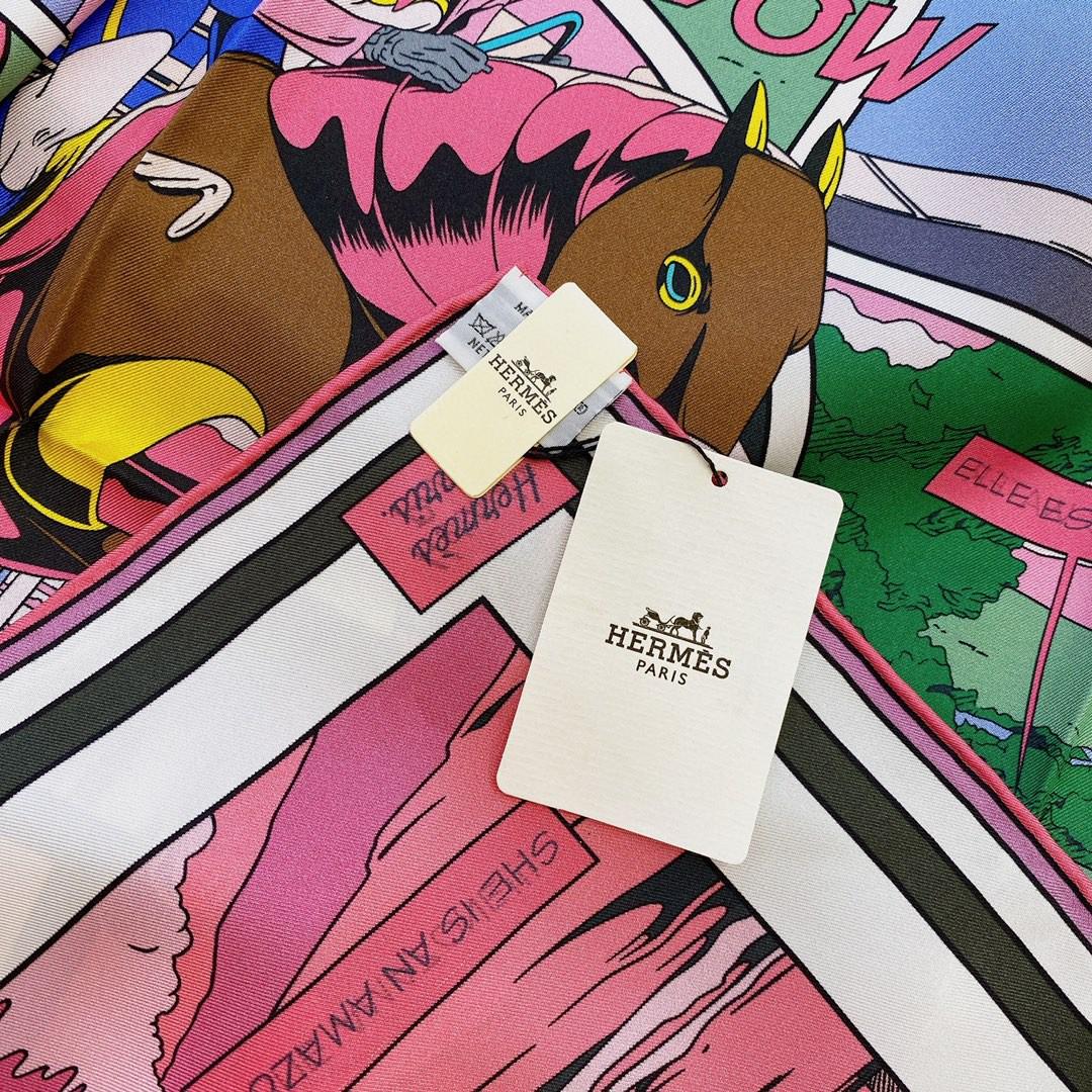 HERMES 《 wow 》双面方巾 粉色 Size:90x90cm 100%真丝 18mm足专柜克重
