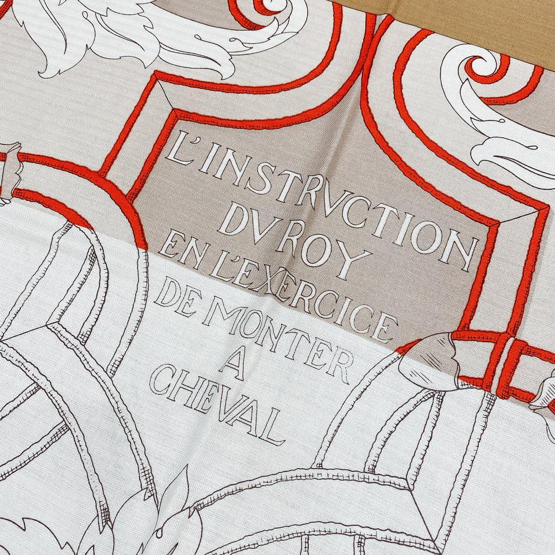 Hermes 秋季款 《国家马术指导条纹版丝绒披肩》米色 Size:140x140cm