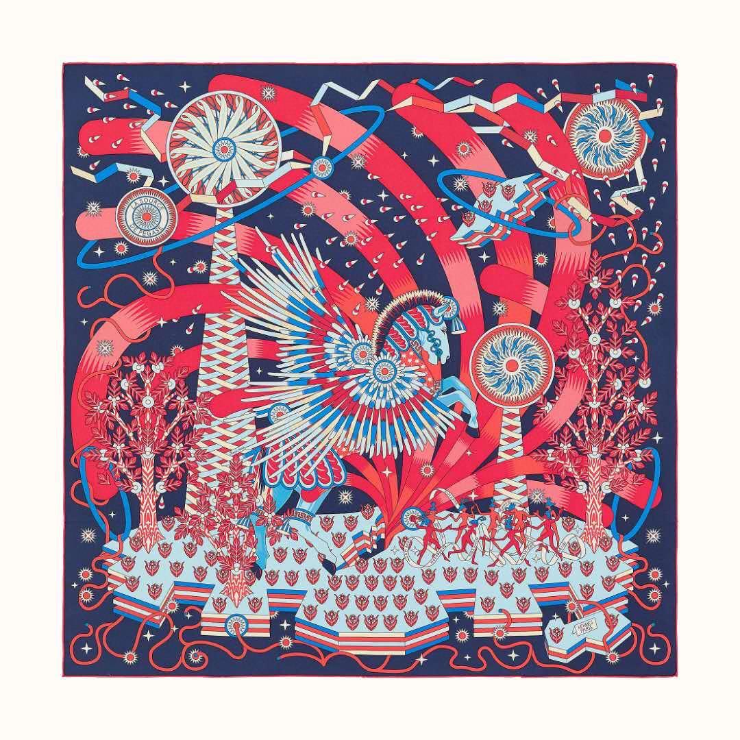 HERMES 21年夏季新款丝巾《飞马之源》深蓝色 90x90cm 100%真丝材质