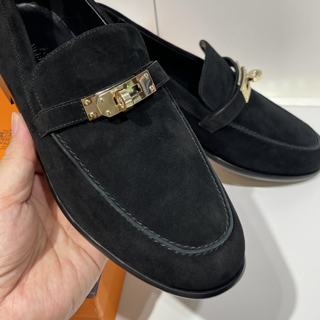 HERMES爱马仕 Destin 女士乐福鞋 采用正品小牛皮 316精钢 意大利原厂进口真皮大底 码数:35-41 (可定制半码) 码数不调换
