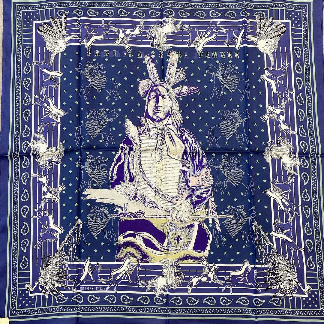 HERMES 双面围巾《 波尼族酉长 》· 90*90cm 100^%真丝 绿色配藏青色