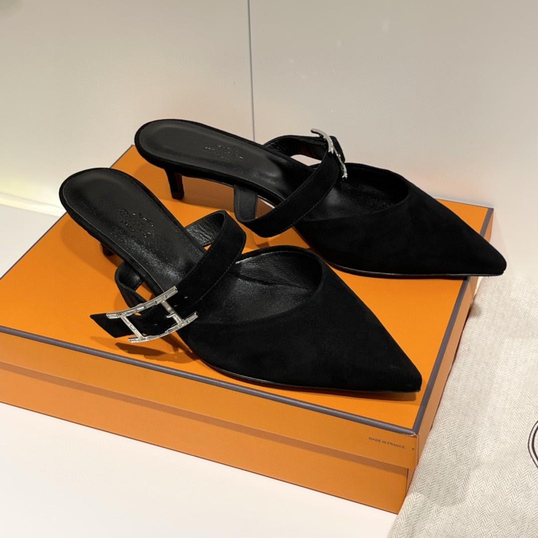 爱马仕 Blink 穆勒鞋 实拍图片~ 麂皮 树羔皮底 上脚超舒服~ 跟高3cm  35-41码 正码