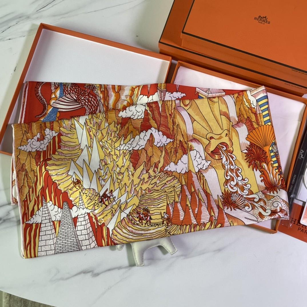 爱马仕 HERMES 21年新款 真丝方巾 橘色 18姆米 100%斜纹真丝 90*90cm