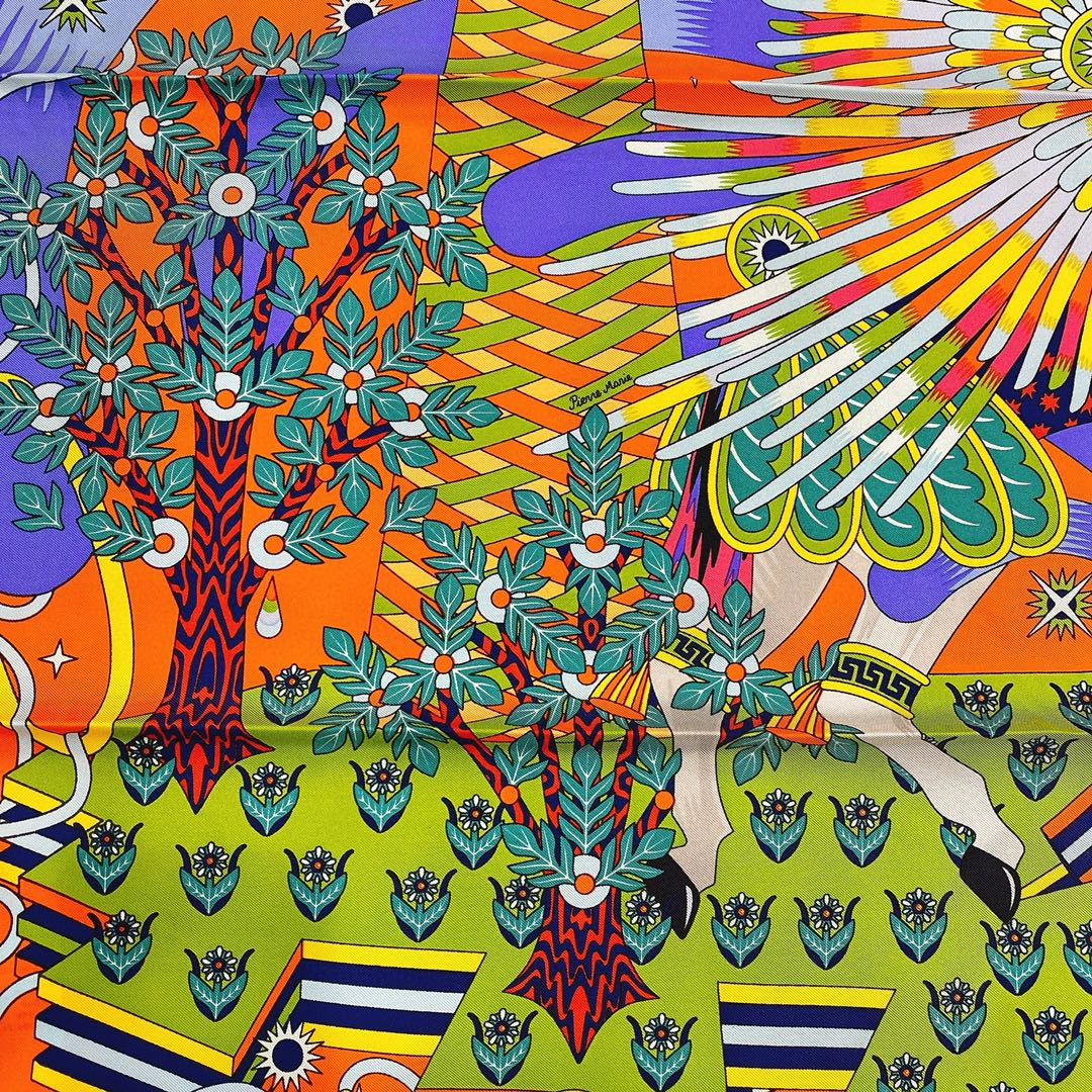 HERMES 21年夏季新款丝巾《飞马之源》橙色 90x90cm 100%真丝材质