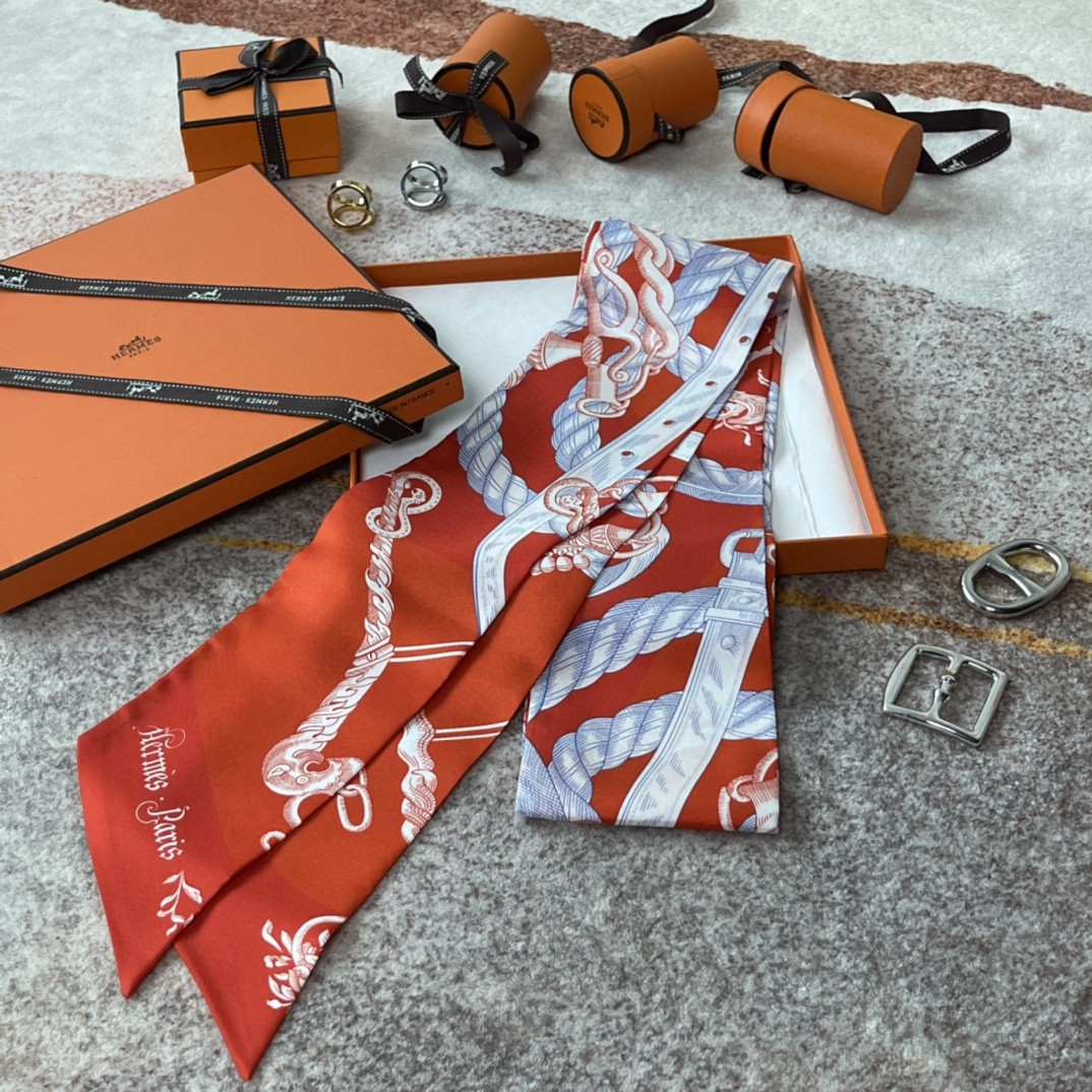爱马仕 21夏季新款Maxi Twilly《神奇的动物》 橘色~100%真丝10*180cm