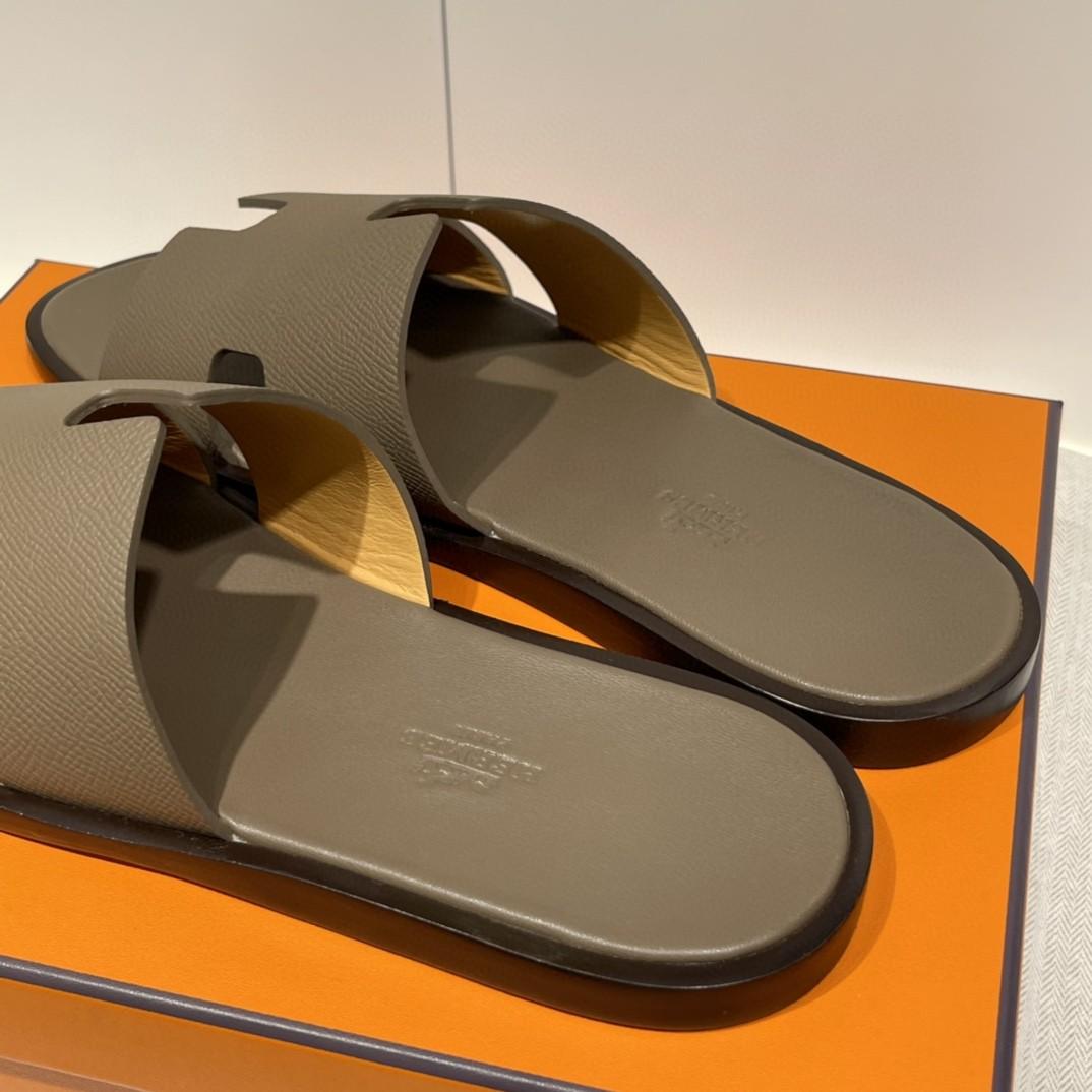 HERMES 男士拖鞋 纯手工 接受预定 偏小一码 39-45 Epsom 大象灰 超高级~ 货期12天