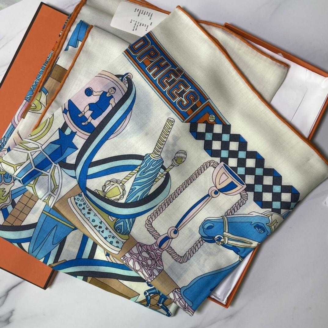 HERMES 爱马仕 秋季款 新款丝绒方巾 Size:140x140cm 真丝羊绒