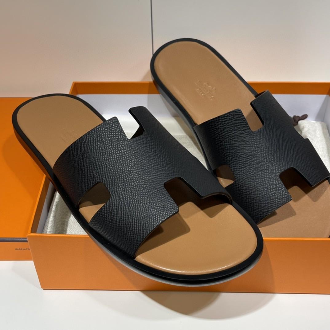 爱马仕 HERMES 男士拖鞋 纯手工 接受预定 偏小一码 39-45 Epsom 黑色  咖啡色垫脚 超高级