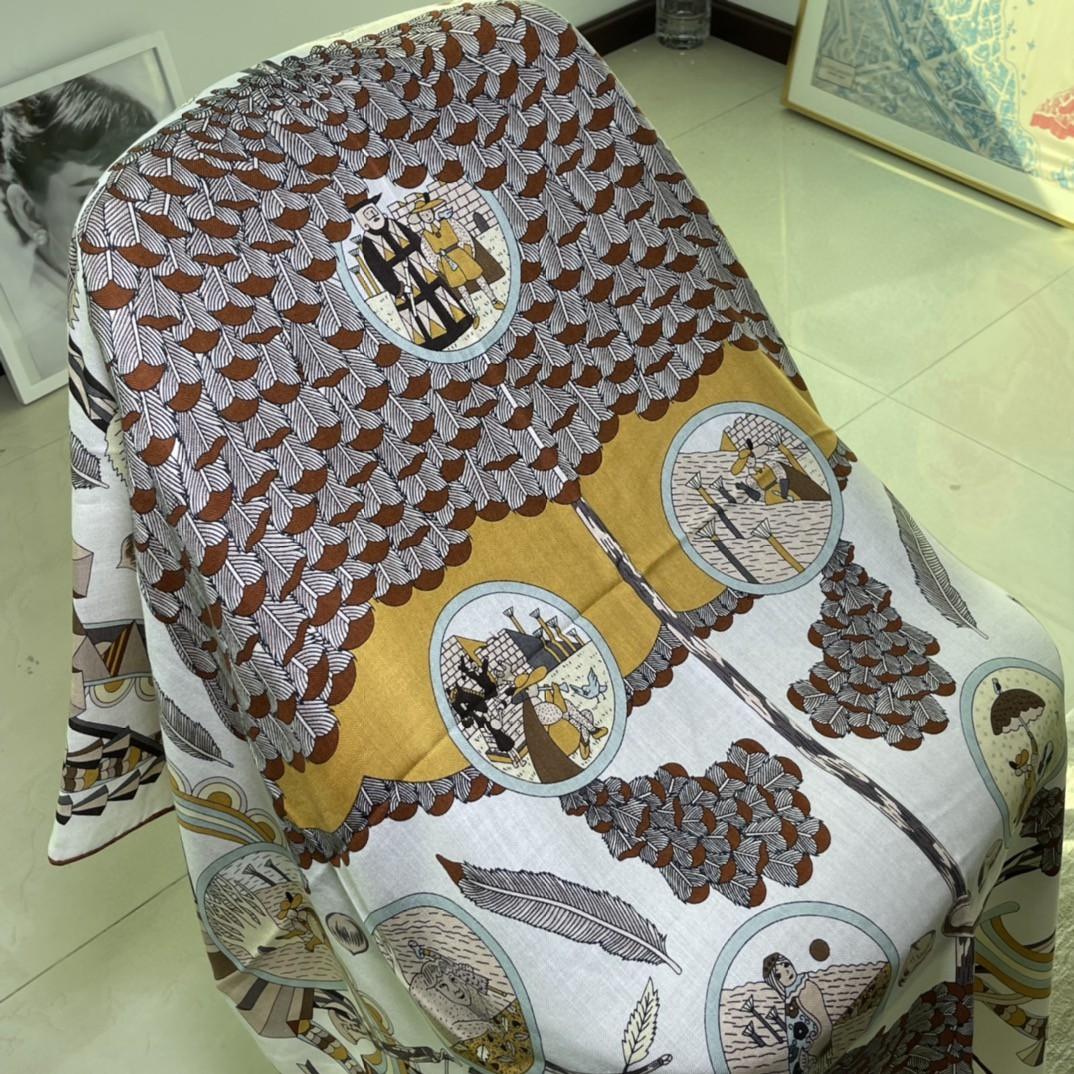 HERMES  爱马仕围巾 秋季新款  Size:140x140cm 丝绒材质 代购品质