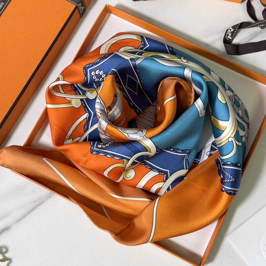 HERMES 新品《名人电梯》真丝方巾 橙色 90*90cm 100%真丝 手工包边